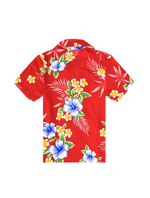 Boy Hawaiian Aloha Shirt in Hibiscus Red Size 14