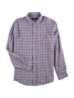Ralph Lauren Mens Plaid Linen Button Up Shirt