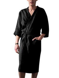 Men's Plus Size Linen Pajamas Kimono Bathrobe Belt Pocket Loungewear