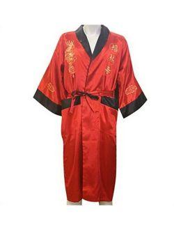 THY COLLECTIBLES Unisex Reversible Silk Satin Robe Kimono Relaxation Bathrobe Dragon Embroidered Night Gown (Red, Asian XXXL = US XXL)