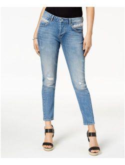 Womens Blue Frayed Distressed Straight Leg Jeans Size: 30 Waist