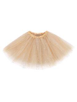 Women's Classic Elastic, 3-Layered Tulle Tutu Skirt,Golden Sequin