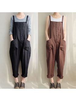 Oversized Women Loose Strap Jumpsuit Casual Dungaree Trousers Overall Pant