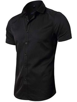 FLY HAWK Mens Dress Fitted Bamboo Fiber Short Sleeve Casual Button Down Shirts