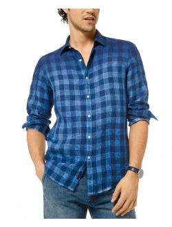 Mens Shirts Blue Medium Cold-Dye Gingham Button-Front M