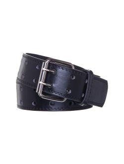 E.M.P Men's Double Prong Black Leather Belt