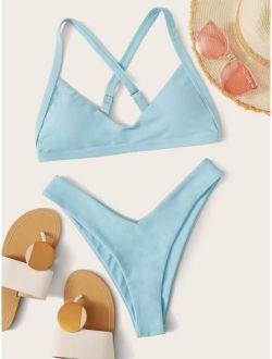 Criss Cross Top With High Cut Bikini Set