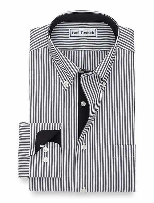 Paul Fredrick Mens Non-Iron Cotton Stripe Dress Shirt