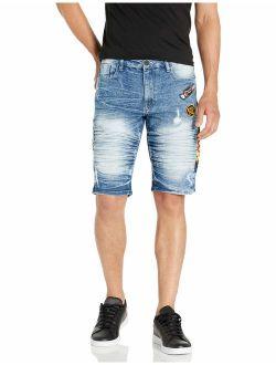 Men's Tootsie Multiple Patches Denim Shorts