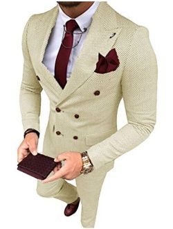 YZHEN Men's Suit Plaid Double Breasted Jacket and Pants