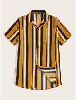 Men Color-block Striped Curved Hem Shirt