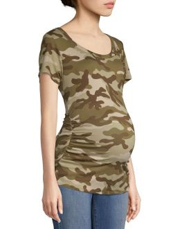 Love Sadie Maternity Camo Side Ruched T-Shirt