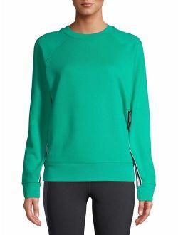 Women's Athleisure Tape Side Pullover Crewneck Sweatshirt