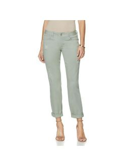 GIULIANA Size 6 Luxe Stretch Boyfriend Jeans Distressed Capri SAGE GREEN