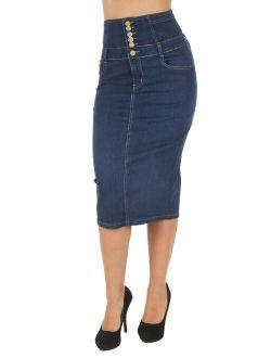 Womens Juniors High Waist Long / Knee Length Midi Pencil Denim Skirt