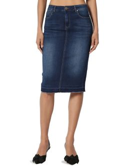 Women's Butt Lift Washed Blue Jean Pencil Midi Soft Denim Skirt