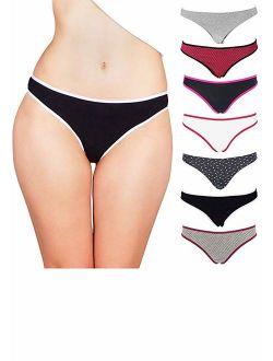 Pack of 6 Just Intimates Laser Cut Thongs Panties for Women