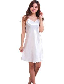 EFINNY Womens Sexy Silk Babydoll Sleeveless Sleepwear Robes