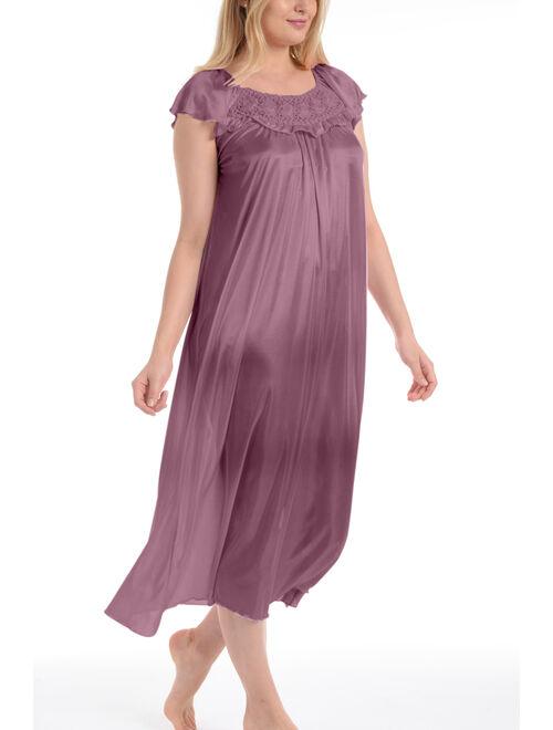 Women's Long Satin Silk Ruffle Sleeveless Nightgown By EZI
