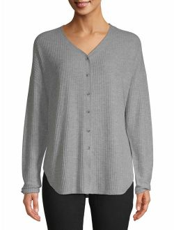 Women's Waffle Button Front Top