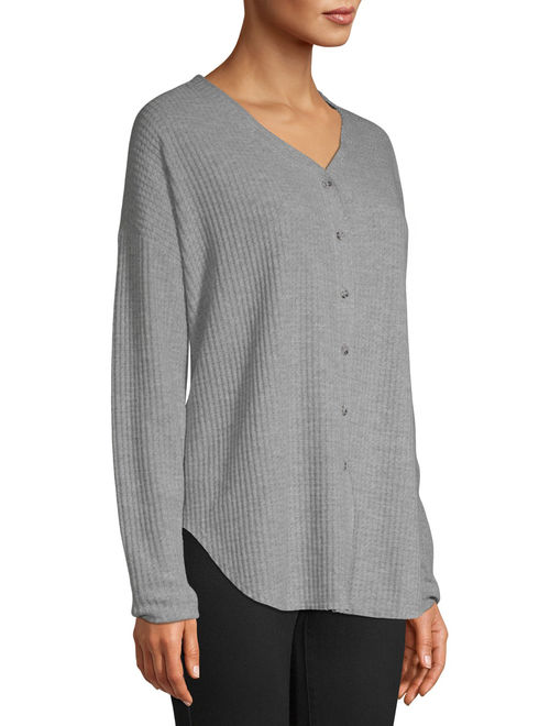 Time and Tru Women's Waffle Button Front Top