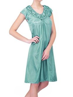 Women's Satin Silk Roses Nightgown