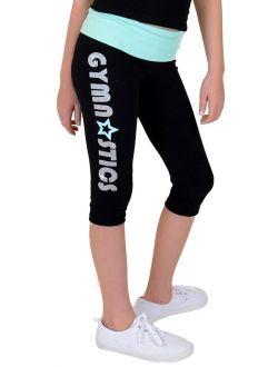 Girl's Mint Star Gymnastics Foldover Capri Leggings - X Small (4) / Mint