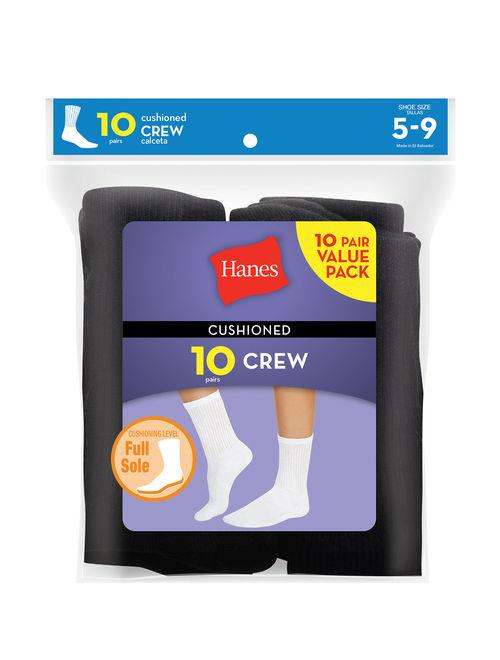 Hanes Women's Cushioned Crew Socks, 10 Pack, Black, 5-9