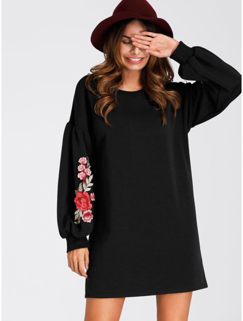 Embroidered Rose Lantern Sleeve Shift Dress