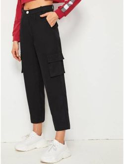 Button Fly Pocket Side Cargo Pants
