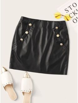 Zip Back Buttoned Front PU Leather Skirt
