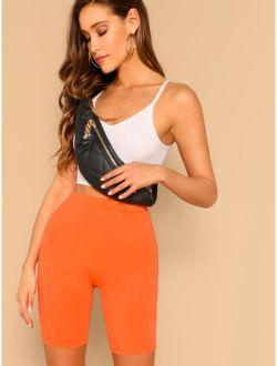 Neon Orange High Waist Leggings Shorts