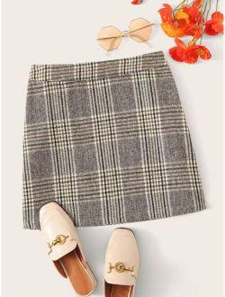 Zip Detail Plaid Skirt