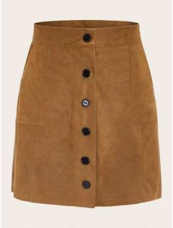 Button Front Suede Straight Skirt