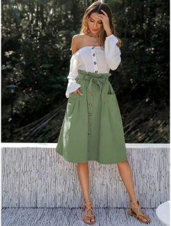 Dual Pocket Button Front Belted Paperbag Skirt