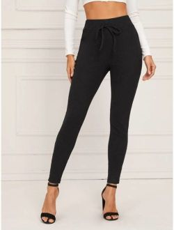 Wide Waistband Tie Front Rib-knit Leggings