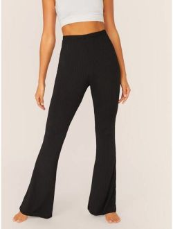 Solid Rib-knit Flare Leg Pants