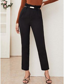 Paperbag Waist Belted Tailored Pants
