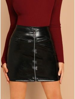 O-ring Zip Front Faux Leather Skirt