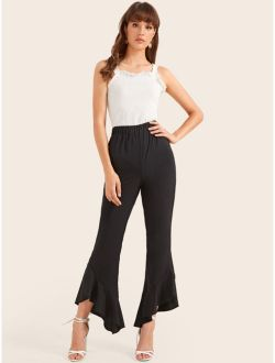 Solid Ruffle Asymmetrical Hem Pants
