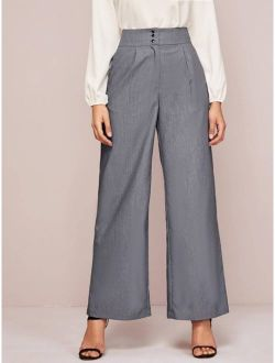 Button Front Wide Leg Tailored Pants