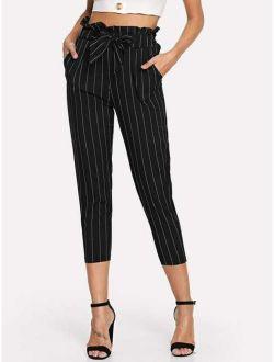 Striped Ruffle Waist Belted Pants