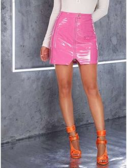 Neon Pink Zip Front Button Detail PU Leather Skirt