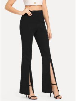 Split Solid Flare Pants
