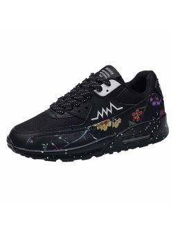 JJLIKER Men's Graffiti Lightweight Athletic Air Cushion Mesh Running Training Walking Sneakers Athletic Non-Slip Shoes