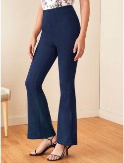 Solid Zip Back Flare Leg Pants