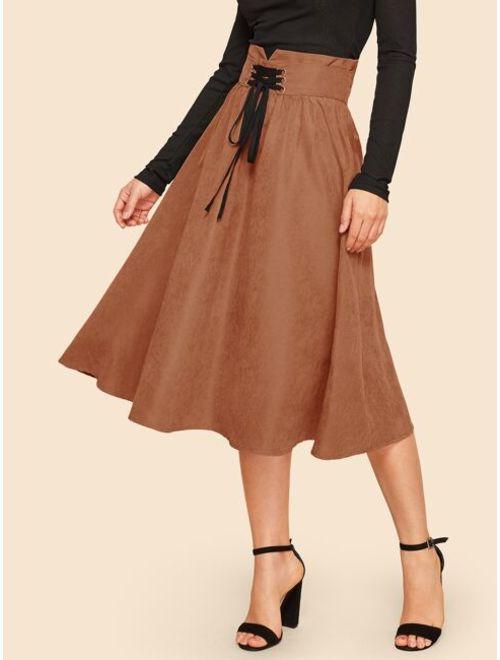Zipper Fly Fit & Flare Corset Skirt