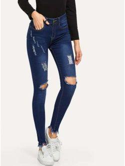 Knee Rips Raw Hem Skinny Jeans