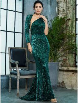 LOVE&LEMONADE Asymmetrical Neck Backless Sequin Floor Length Dress