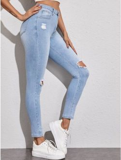 Light Wash Knee Ripped Skinny Jeans